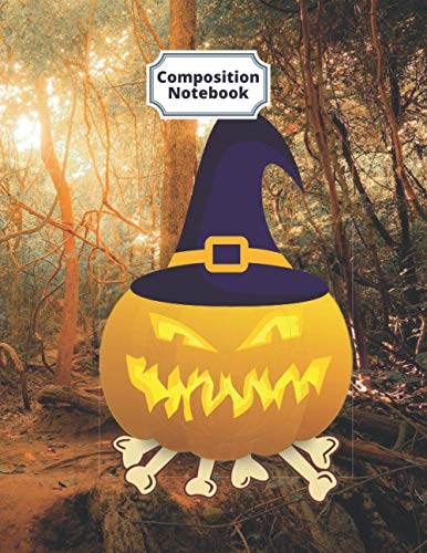 Composition Notebook Halloween Ghost Pumpkin Magic Hat: Funny Halloween Party Gift Lined Journal Notebook For Kids Adults Women Teens Boys Girls