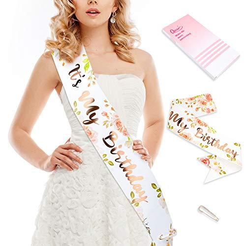 Qpout Oro Rosa Faja de cumpleaños Es mi cumpleaños Regalos de cumpleaños de Guillotina Accesorios con Regalo de cumpleaños de alfiler de Diamante: 16, 18, 21, 30, 40, 50, 60, cumpleaños 🔥