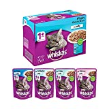 Whiskas Adult (+1 year) Wet Cat Food, Fish Selection (Salmon, Coley, Tuna, Whitefish)