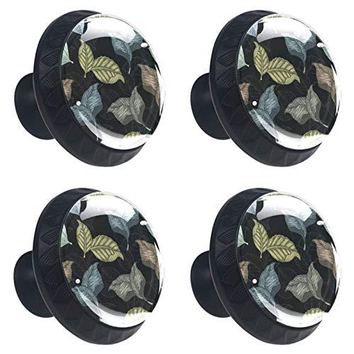 Botanicalbig - Tiradores de cajones con diseño de hojas, 30 mm, 4 tiradores de cristal para armarios de cocina y hogar