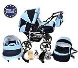 Kamil - Sistema de viaje 3 en 1, silla de paseo, carrito con capazo y silla de coche, RUEDAS ESTÁTICAS y accesorios (Sistema de viaje 3 en 1, azul marino, azul)
