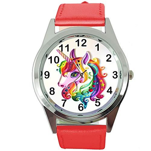TAPORT® Reloj analógico de cuarzo para mujer, correa de piel auténtica, diseño de unicornio redondo E1