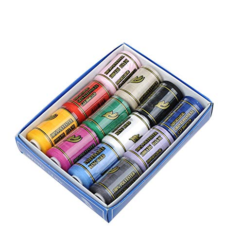 12 SPOOLS of 600 Yards Polyester Sewing Thread for Sewing Machine All Purpose Premium Quality Thread (Colorful)
