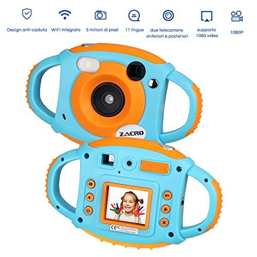 Zacro Dual Lens Fotocamera Digitale per Bambini con Macchina Fotografica Bambini , 1080P HD, LCD da 1.8 inth Videocamera HD a Colori WiFi 5MP Camera Regalo di Compleanno per Bambini , Blu