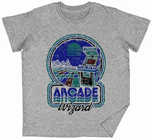 Arcade Wizard Gris Niños Chicos Chicas Camiseta Unisexo Tam