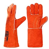 QeeLink Leather Welding Gloves - Heat & Flame Resistant For Welders/Fireplace/BBQ