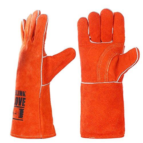 guanti per saldatura QeeLink Guanti per Saldatura in Pelle - Resistenti al Calore e alla Fiamma per Saldatori/Caminetti/BBQ