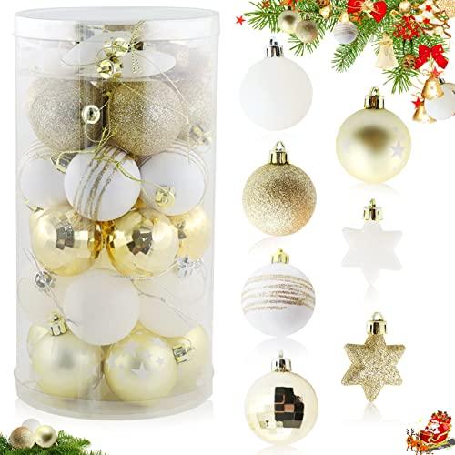 35 Piezas Bolas árbol de Navidad,Bolas de Navidad Decoración,Decoración del árbol de Navidad,Decoración de Bolas de Navideños Inastillable Plástico,Navidad Decoración Casa (Blanco Dorado)