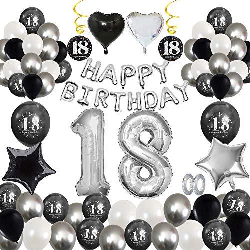 MMTX 18 Geburtstag Dekoration, Geburtstag Party Luftballon Deko mit Happy Birthday Luftballon,Druck Latex Luftballons Sterne Herz Folienballons für Schwarz Silber Junge Männer Mädchen Frauen (18)