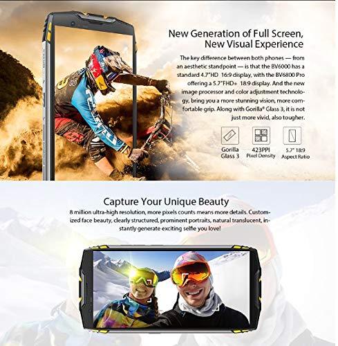 Blackview BV6800 Pro – Outdoor Smartphone 5.7 pollici FHD+ (18:9), batteria 6580mAh BAK (30 giorni in modalità riposo, ricarica rapida), Impermeabile IP68, Antipolvere- Nero