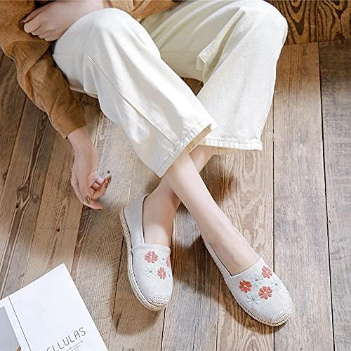 GaYouny Zapatos Bordados Girasol Bordado Mujer Lienzo Espadrilles Vegano Hecho a Mano Damas resbalones en Zapatos Planos Mocasines de conducción Transpirables (Color : White, Size : 39 EU)