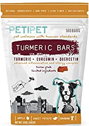 PETIPET Turmeric Bars Dog Treats with Turmeric Quercetin 180 Chews