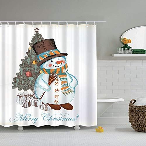 N / A Frohe Weihnachten und EIN gutes neues Jahr Santa Claus Weihnachtsbaum Duschvorhang Badvorhang mit Haken Duschvorhang Familie wasserdicht und schimmelfest Duschvorhang A19 180x200cm