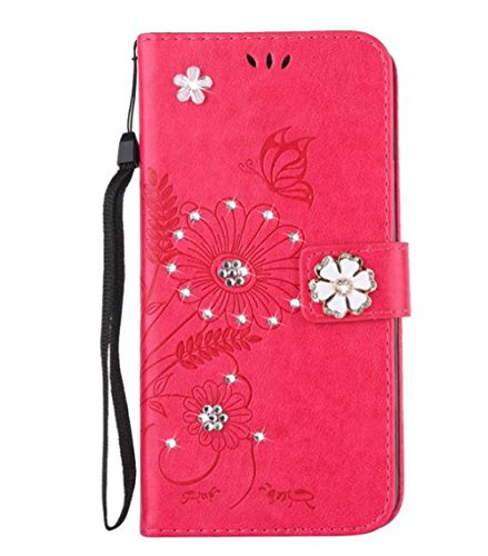 iPhone 7 Plus Glamour Rhinestone Case,Inspirationc 3D Handmade Shiny Glitter Butterfly Lotus Case PU Leather Credit Card Stand Wallet Cover with Strip for iPhone 7 Plus 5.5 Inch--Rose Red