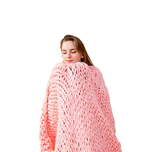 incarpo Chunky Knit Blanket Handwoven Wool Yarn Knitting Throw Bed Sofa Super Warm Home Decor Pink 47'x59'