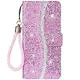 CTIUYA Funda protectora para Samsung Galaxy A32 5G, funda para teléfono móvil con purpurina, de piel sintética, plegable, con tarjetero, funda para Samsung Galaxy A32 5G, color rosa