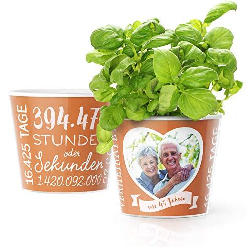 45. Hochzeitstag Geschenk – Blumentopf (ø16cm) | Deko Geschenke zur Messinghochzeit für Mann oder Frau mit Herz Bilderrahmen für 1 Foto (10x15cm) | Glücklich Verheiratet - 45 Jahre
