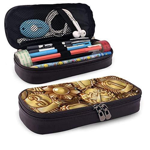 Medallas militares Cuero Funda de lápices impresa en 3D Funda con cremallera Bolígrafo Caja de lápices Caja para estudiantes Caja de papelería de gran capacidad