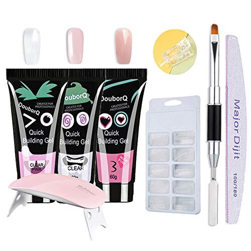 Gel nails kit,Anself 15ml Nail Gel de Construcción Rápida Gel UV Espátula Extensión del cepillo Puntas falsas Set