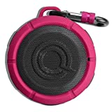 Quikcell Drench Bluetooth Wireless Waterproof Speaker. Wireless Portable Mini Shower Travel Speaker with Built in Mic for Sports, Pool, Beach, Hiking, Camping. (Pink)