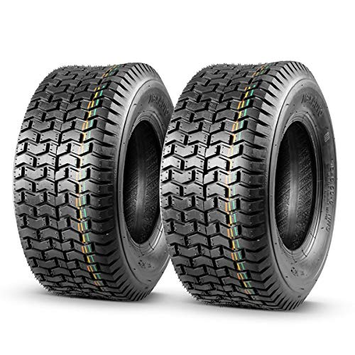 MaxAuto 2 Pcs 16x6.50-8 Turf Tires for Lawn Tractor Lawn Mower Riding 4Ply Tubeless