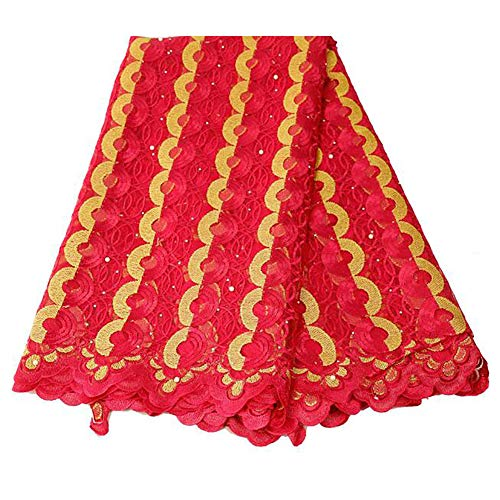 Lowest Prices! TTIK African Lace Fabric Nigerian French Lace Net Fabric Embroidered Fabric 5 Yards for Wedding Party,B