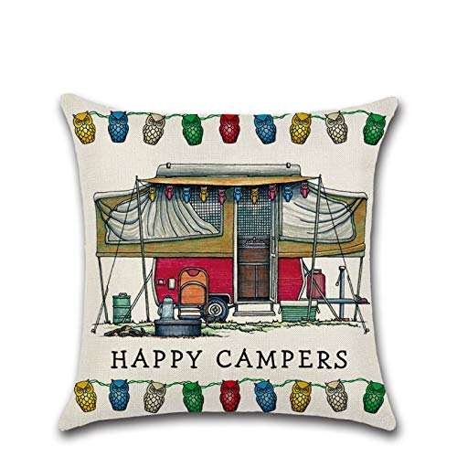 ACYKM Cushion Cover Sofa pillowcase New cartoon camper car RV dining car series happy campers linen pillowcase home decoration sofa cushion cover seat cushion sofa home decor christmas new year gift