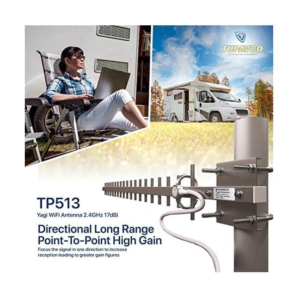 Tupavco TP513 Yagi WiFi Antenna 2.4GHz (17dBi) Outdoor Directional Signal (H:25° V:24°) Long Distance Range (High-Gain…