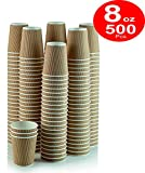 500 X 8oz Disposable Coffee Cups Paper Cups for Hot and Cold Drinks Vending Cups Triple Walled Ripple Cups Disposable Tableware