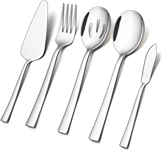 5-Piece Serving Utensils, E-far Stainless Steel Square Edge Hostess Serving Set for Buffet Party Kitchen Restaurant, Mirror Finished & Dishwasher Safe