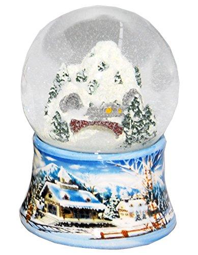 Minium Collection 20085 Schneekugel Schneemann avec Base de Porcelaine Blanche Chien 65mm de diam/ètre air Bubble