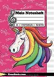 Mein Notenheft: A4 für Kinder & Mädchen mit Einhorn Design - 150 Seiten für Schule, Musikunterricht und erste Klavier,- Gitarren,- Geige,- oder Cello Stunden. Notenblock für Kinder und...