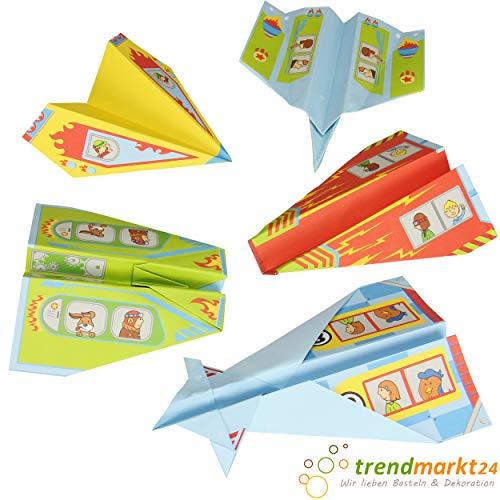 Papierflieger Set 10 Papiere DIN A4 mit Anleitung Flieger/Flugzeug falten mit Kinder/Kids basteln Kindergeburtstag Mitgebsel Mitbringsel   trendmarkt24 358775-A