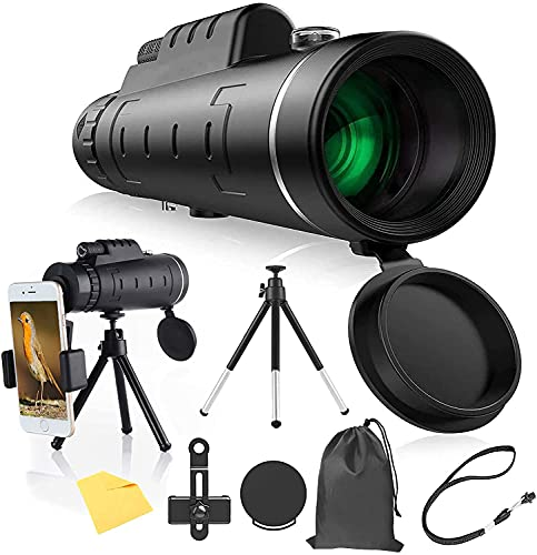 Monocular Telescope, 40x60 High Power HD Monocular with Smartphone Holder Tripod Waterproof Night Vision and Clear Prism Dual Focus, Hunting Travelling Wildlife Bird Watching Gifts (2021 Upgrade)