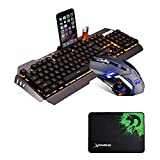 LexonElec@ Technology Keyboard Mouse Combo Gamer Wired Rainbow LED Backlit Metal Pro Gaming Keyboard + 3200DPI 6 Buttons Mouse + Mouse Pad for Laptop PC (White & Rainbow Backlit Mute Mouse)
