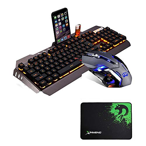 LexonElec@ Technology Keyboard Mouse Combo Gamer Wired Orange Yellow LED Backlit Metal Pro Gaming Keyboard + 3200DPI 6 Buttons Mouse + Mouse Pad for Laptop PC (Black & Yellow Backlit Mute Mouse)