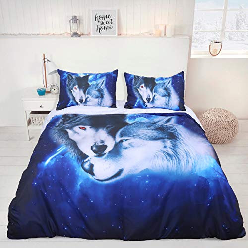 Wolf Multi Colour Winter Double Size Soft Duvet Cover Quilt Bedding Set With Zipper Closure 135x200cm