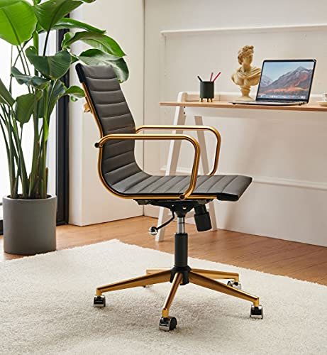 Black and Gold Office Chair Gold Home Office Chair Functional Ergonomic Leather Office Chair Comfortable Office Big Chair Swivel Rolling Computer Desk Chair with Lumbar Support 320+lb Gold Black