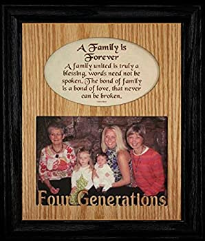 JoyceBoyce.com 8x10 Family is Forever ~ Four Generations Photo & Poetry Frame ~ Holds a Landscape 5x7 Picture  Black