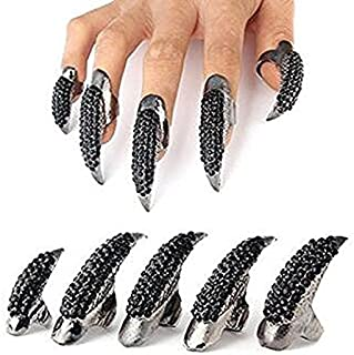 Set of 5 Punk Style Finger Claw Ring Gothic Jewelry False Nail Retro Clear Crystal Talon Finger Ring Knuckle Bend Fingertip Claw for Cosplay Paty (Black)