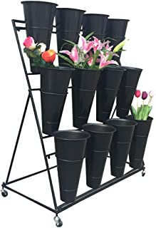 Flower Stand Shelf   Flower Shelf Display Stand Flower Shop Flower Bucket   Iron Art 3 Layers (Color : B (with Bucket))