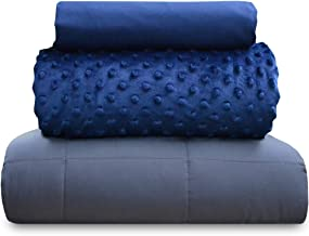 chilla 25 lbs Weighted Blanket Set | 3 Piece Set | Summer + Winter Duvet Covers | 80in x 87in | Navy Blue + Gray