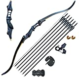 D&Q Hunting Bow and Arrow Set Adult Recurve Bows for Adults Archery Bow 52' 30-50lbs Right Hand Metal Riser with Carbon Arrows Target Practice Outdoor Hunting Shooting Training(40lbs)