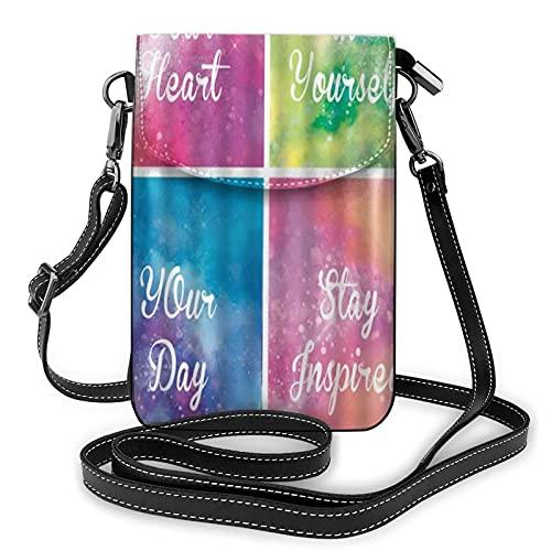 ADONINELP Bolso Bandolera de Cuero para teléfono Motivational Quotes with Colorful Watercolor Rainbow Patchwork Creative Modern Art Purse Wallet Handbags Shoulder Bag Phone Pouch Bag for Women Girls