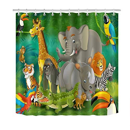 ZZZdz Tiger, olifant, oranje-Utan. Tukan. Douchegordijn. 180 x 180 cm. 12 vrije haken. Huisdecoratie. 3D Hd-druk. Eenvoudig te reinigen. Badkameraccessoires.