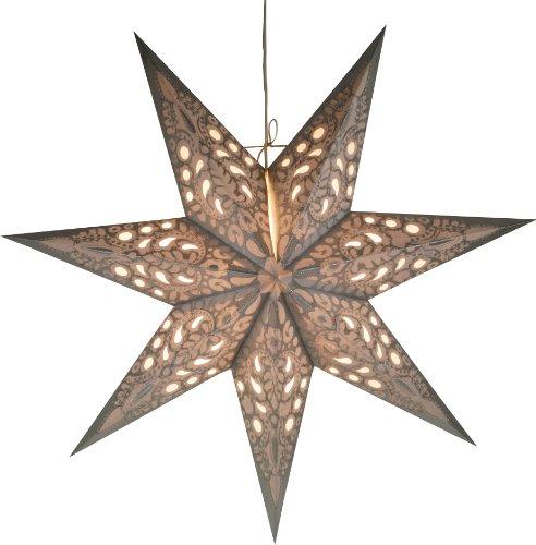 Guru-Shop Faltbarer Advents Leucht Papierstern, Weihnachtsstern 60 cm - Priamos Silber, Star Fensterdeko, 5 Spitzen