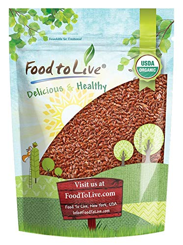 Organic Brown Flax Seeds, 2.5 Pounds — Whole Flaxseeds, Non-GMO, Kosher, Raw, Dried, Bulk