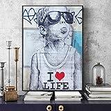 QWESFX Modern Street Art Canvas Prints Love Life Boy Carteles e Impresiones de Pared Graffiti Wall Art Pictures Canvas Painting Home Decoración de Pared (Imprimir sin Marco) A3 60x90CM