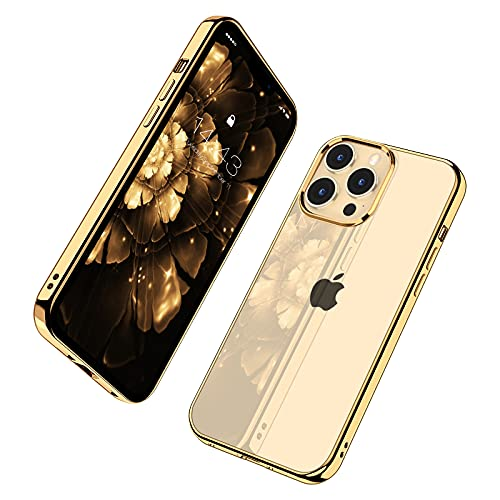 MILPROX Compatible for iPhone 13 Pro Max Clear Case (2021), Crystal Transparent Cover Shockproof Protective Bumper Shell with Electroplated Mirror Edge for iPhone 13 Pro Max 6.7' 2021-Gold