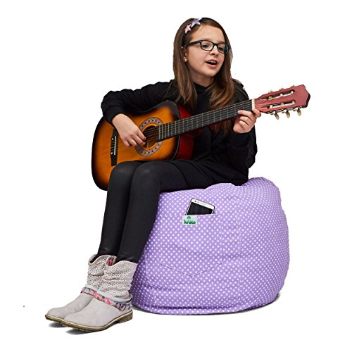 Kroco Stuffed Animal Storage Bean Bag Chair for Kids Bedroom | Plush Toys Storage Beanbag Cover for Toddler or Teen | Stuff Organizer Seat Holder for Girls and Boys | Modern Design -Large, Purple